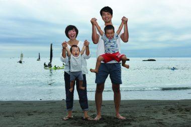 葉山の浜辺で親子撮影会